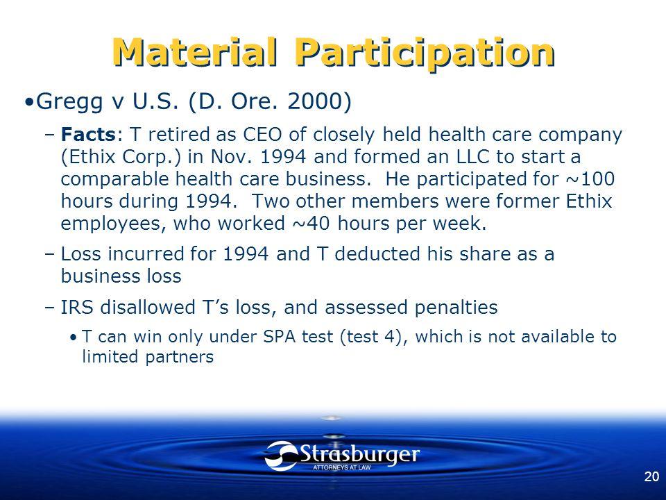 20 Material Participation Gregg v U.S. (D. Ore.