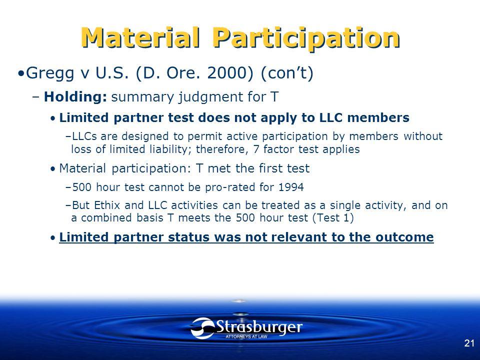 21 Material Participation Gregg v U.S. (D. Ore.