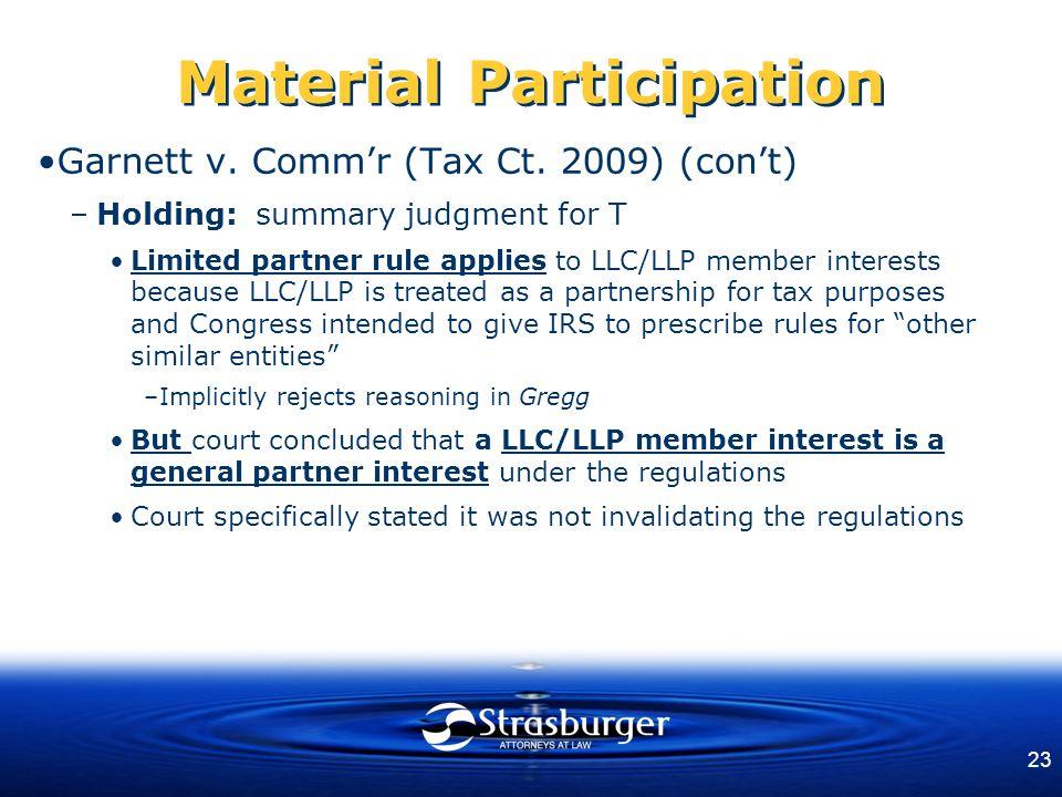 23 Material Participation Garnett v. Comm'r (Tax Ct.