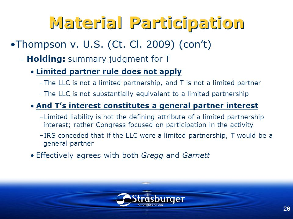 26 Material Participation Thompson v. U.S. (Ct. Cl.