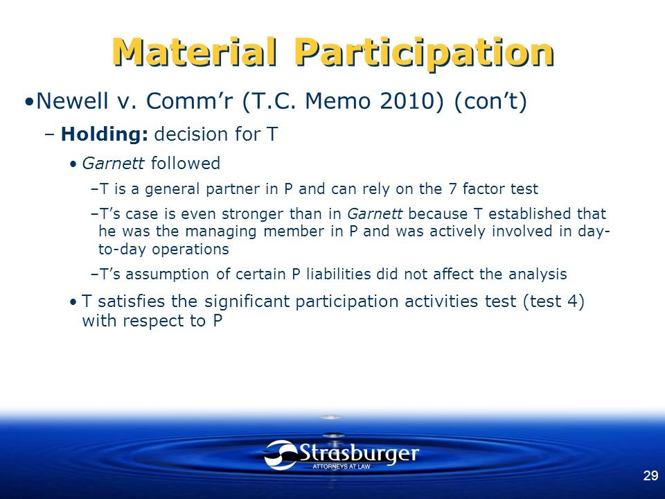 29 Material Participation Newell v. Comm'r (T.C.