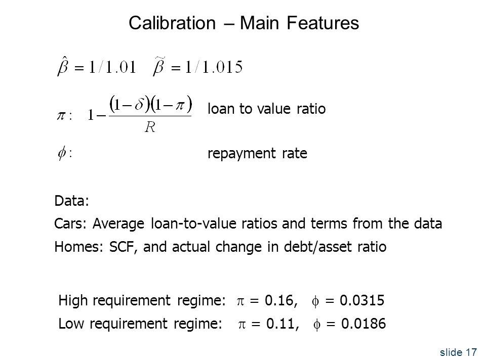 slide 17 Calibration – Main Features Data: Cars: Average loan-to-value ratios and terms from the data Homes: SCF, and actual change in debt/asset ratio High requirement regime:  = 0.16,  = 0.0315 Low requirement regime:  = 0.11,  = 0.0186 loan to value ratio repayment rate