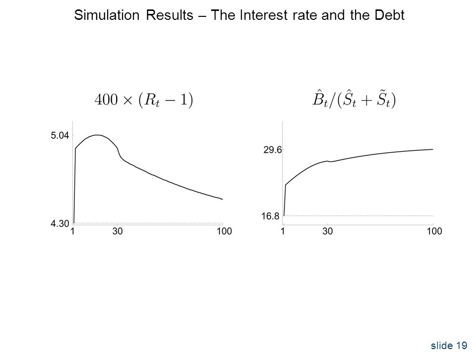 slide 19 Simulation Results – The Interest rate and the Debt