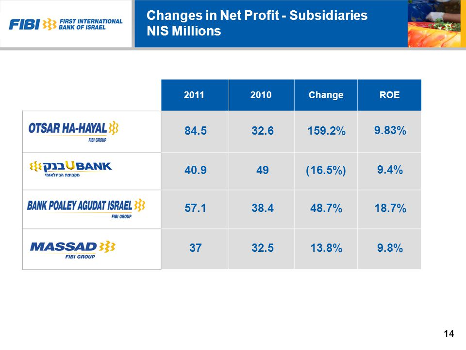 Changes in Net Profit - Subsidiaries NIS Millions ROEChange20102011 9.83% 159.2%32.684.5 9.4% (16.5%)4940.9 18.7% 48.7%38.457.1 9.8% 13.8%32.537 14