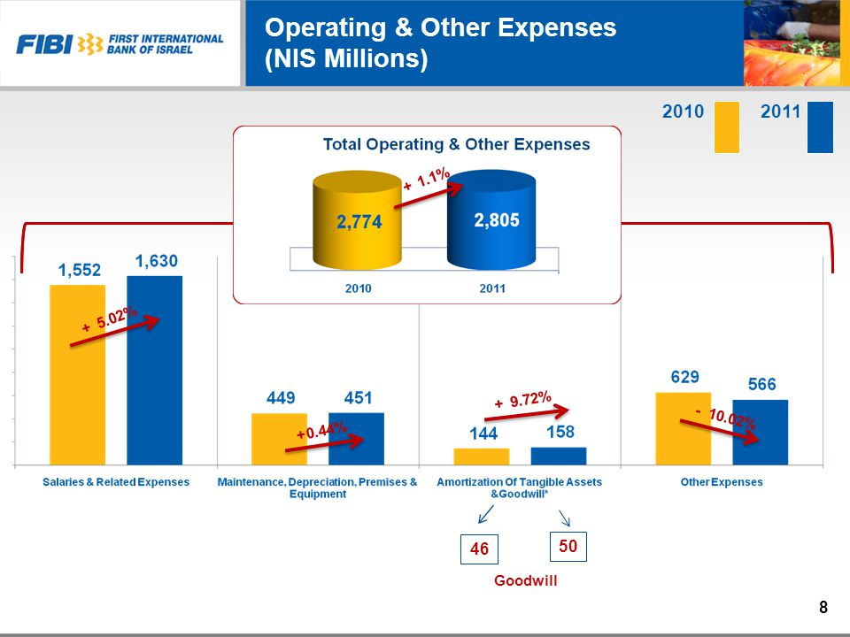 20112010 Operating & Other Expenses (NIS Millions) 5.02% + 9.72% + 0.44%+ 10.02% - Goodwill 50 46 1.1% + 8