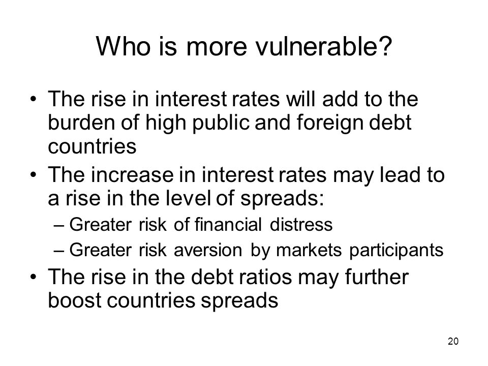20 Who is more vulnerable? The rise in interest rates will add to the burden of high public and foreign debt countries The increase in interest rates