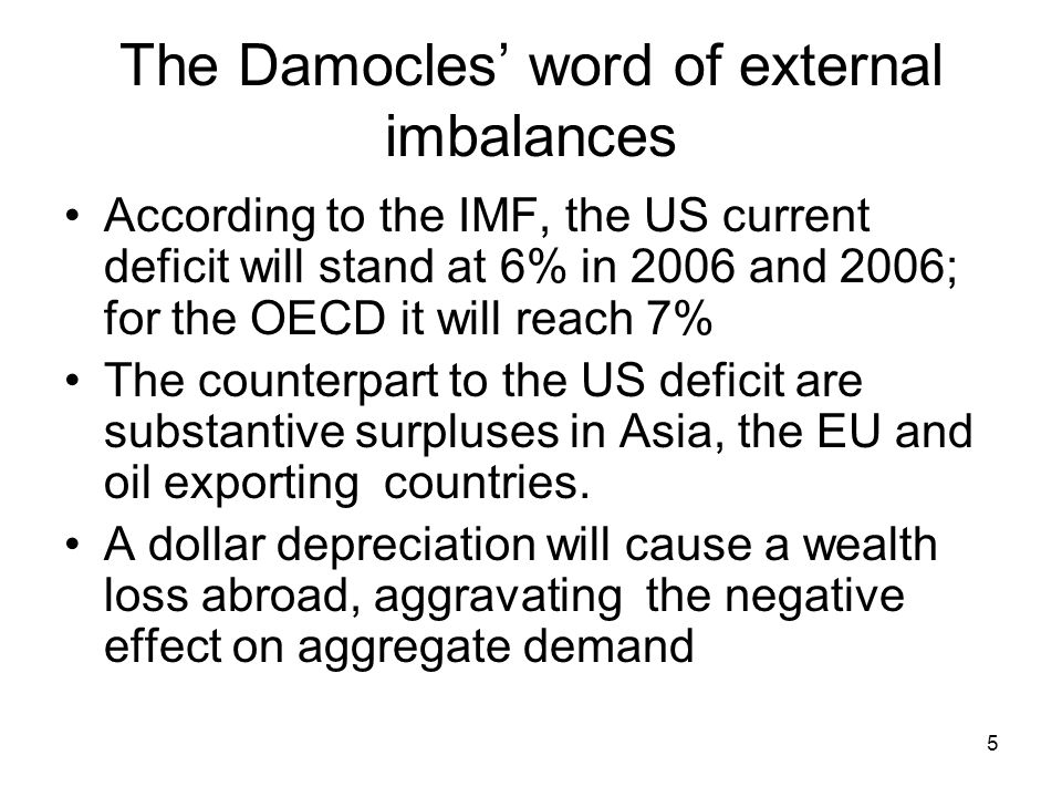 5 The Damocles' word of external imbalances According to the IMF, the US current deficit will stand at 6% in 2006 and 2006; for the OECD it will reach