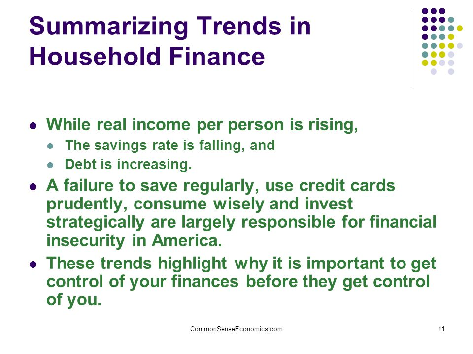 CommonSenseEconomics.com11 Summarizing Trends in Household Finance While real income per person is rising, The savings rate is falling, and Debt is increasing.
