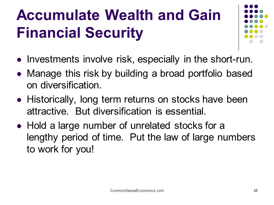 CommonSenseEconomics.com48 Accumulate Wealth and Gain Financial Security Investments involve risk, especially in the short-run.
