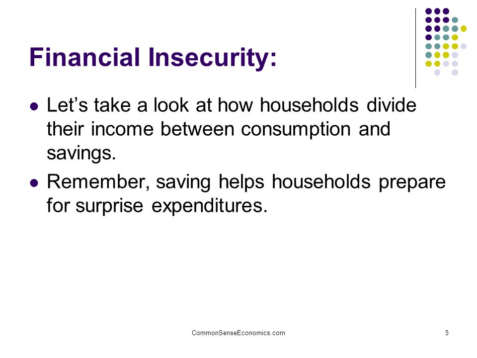 CommonSenseEconomics.com5 Financial Insecurity: Let's take a look at how households divide their income between consumption and savings.