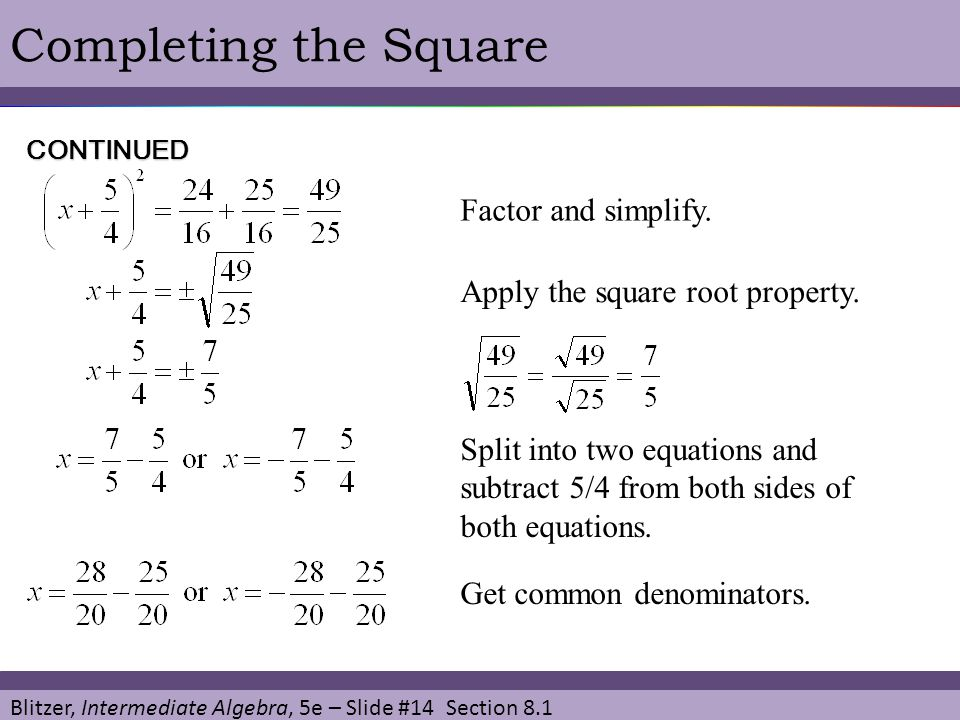 Blitzer, Intermediate Algebra, 5e – Slide #14 Section 8.1 Completing the Square Factor and simplify. CONTINUED Apply the square root property. Split i