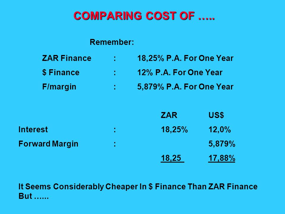 COMPARING COST OF ….. Remember: ZAR Finance:18,25% P.A.