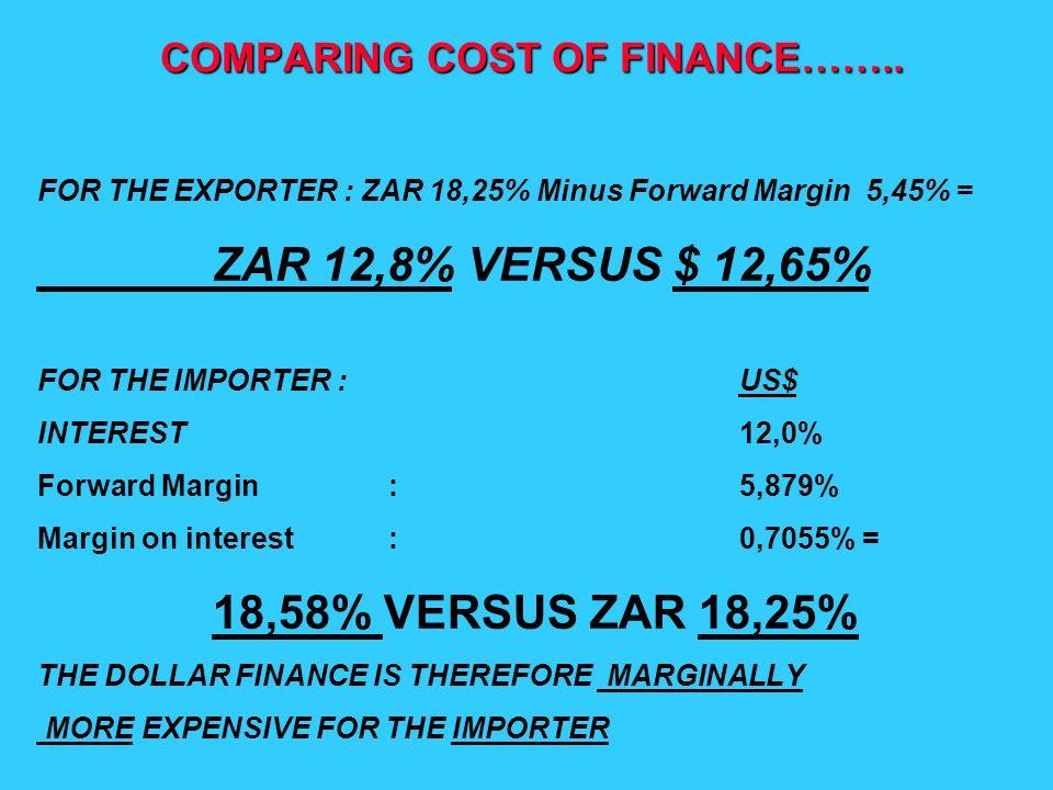 COMPARING COST OF FINANCE…….. FOR THE EXPORTER : ZAR 18,25% Minus Forward Margin 5,45% = ZAR 12,8% VERSUS $ 12,65% FOR THE IMPORTER :US$ INTEREST12,0%