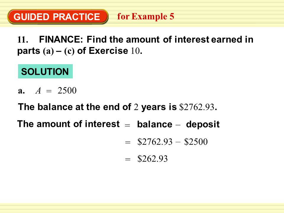 GUIDED PRACTICE for Example 5 SOLUTION 11.
