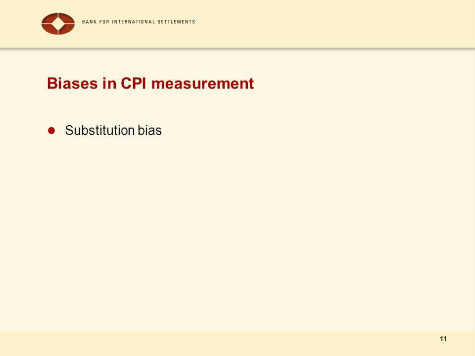 11 Biases in CPI measurement Substitution bias 11