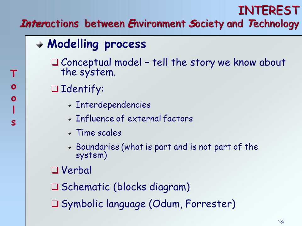 18/ INTEREST Interactions between Environment Society and Technology Modelling process  Conceptual model – tell the story we know about the system.