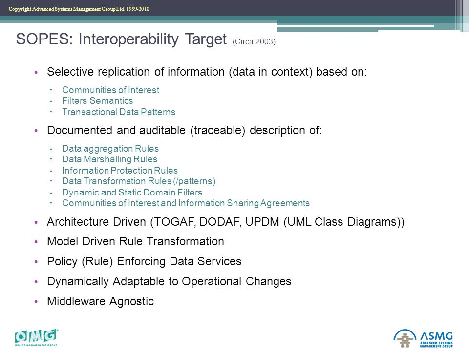 Copyright Advanced Systems Management Group Ltd. 1999-2010 SOPES: Interoperability Target (Circa 2003) Selective replication of information (data in c