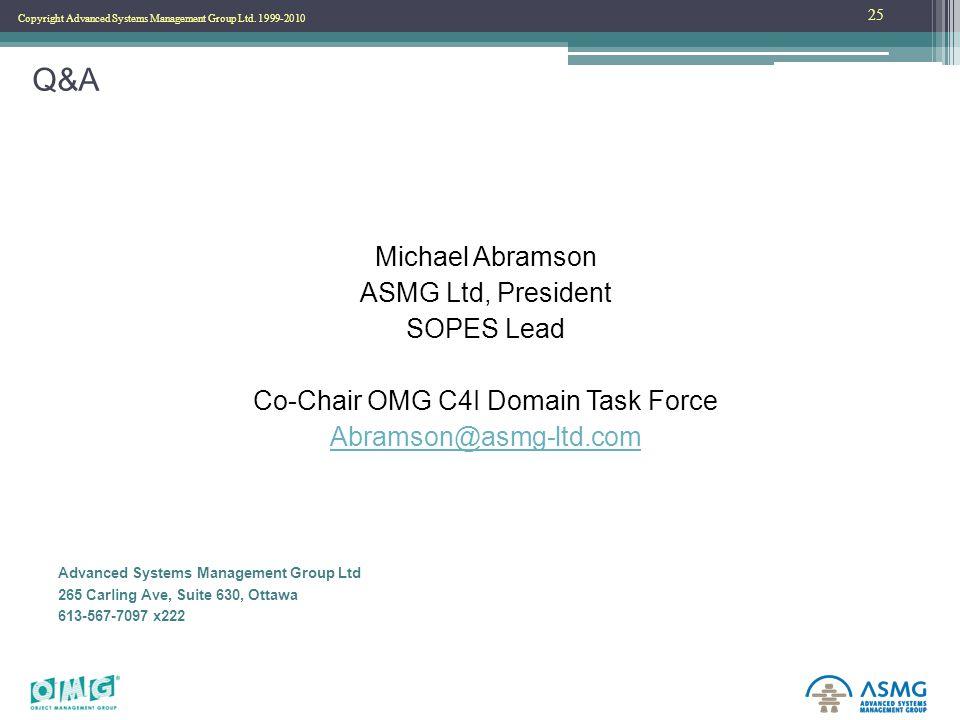 Copyright Advanced Systems Management Group Ltd. 1999-2010 Q&A Michael Abramson ASMG Ltd, President SOPES Lead Co-Chair OMG C4I Domain Task Force Abra