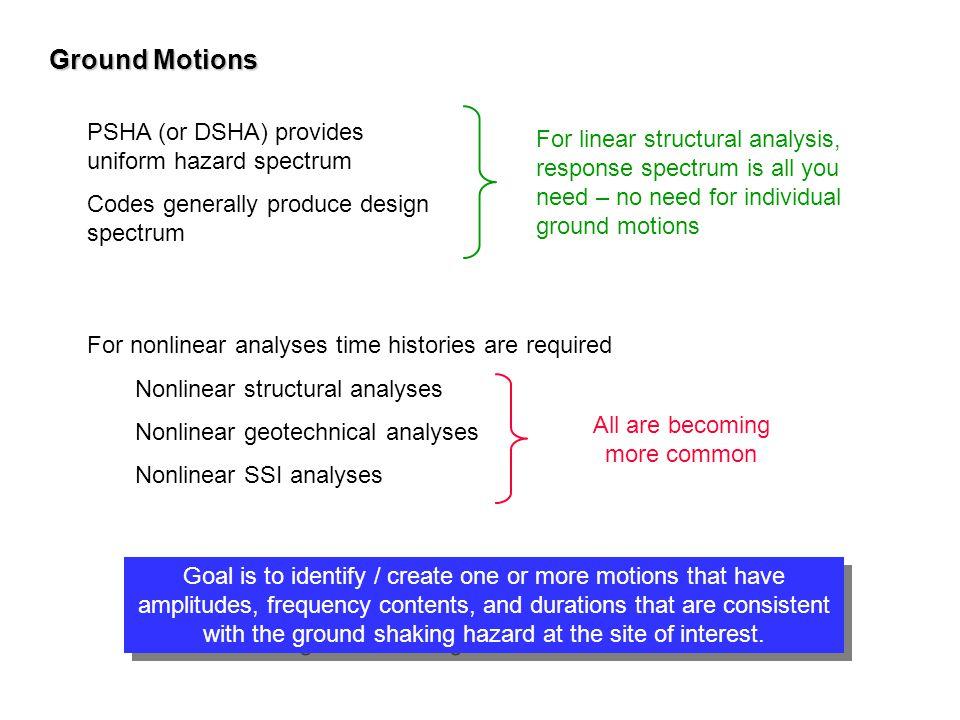 Ground Motions PSHA (or DSHA) provides uniform hazard spectrum Codes generally produce design spectrum For linear structural analysis, response spectr