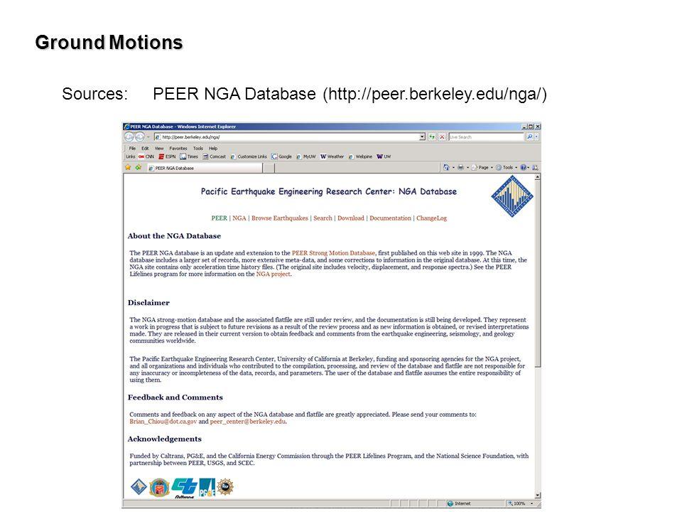 Ground Motions Sources: PEER NGA Database (http://peer.berkeley.edu/nga/)