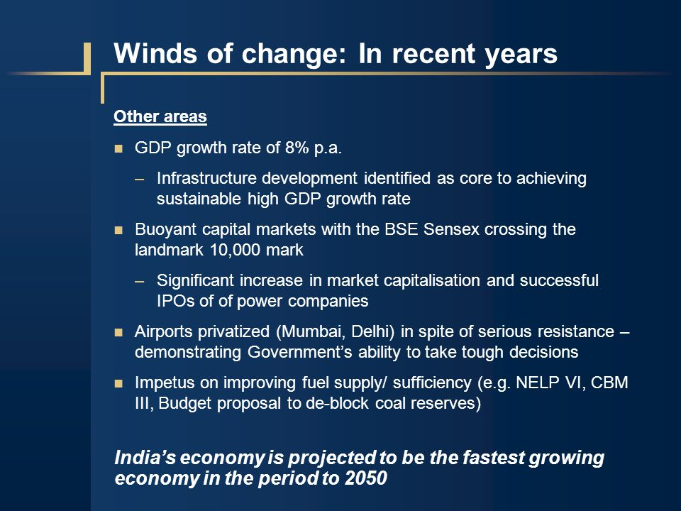 Winds of change: In recent years Other areas GDP growth rate of 8% p.a.