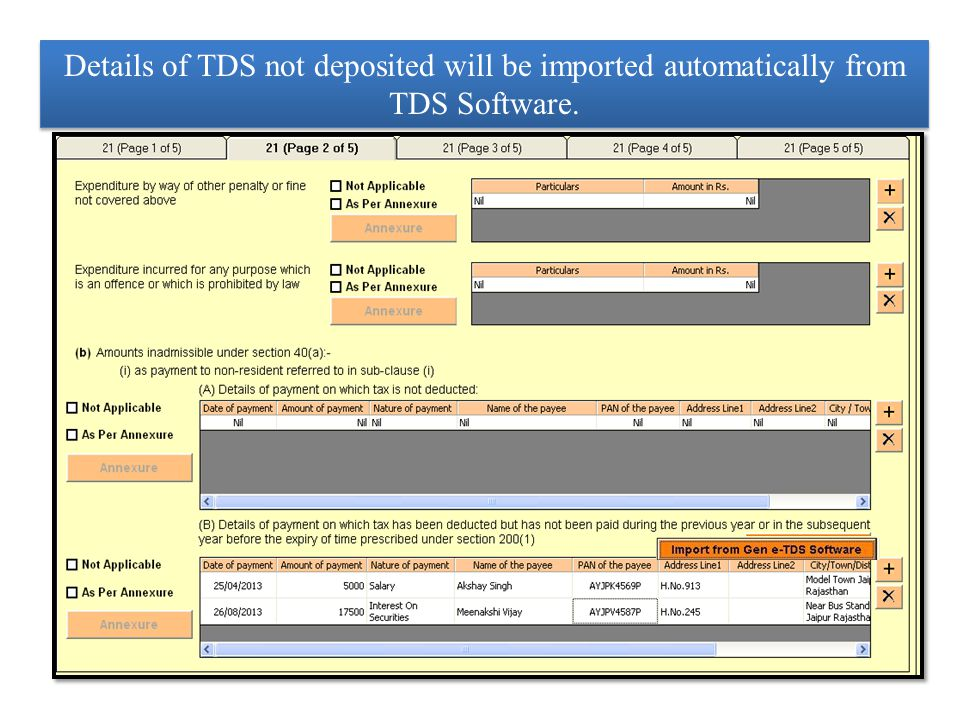 Users who are not using our TDS Software they can prepare annexure of Tax Audits related to TDS defaults by using Excel Import and Export Facility