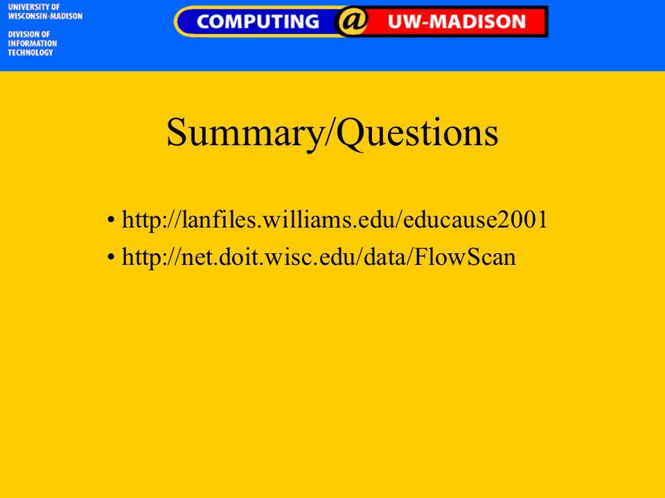 Summary/Questions http://lanfiles.williams.edu/educause2001 http://net.doit.wisc.edu/data/FlowScan