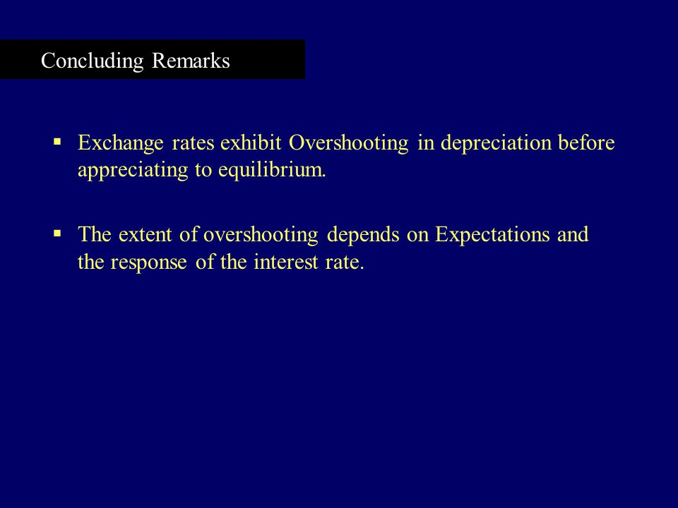 Concluding Remarks  Exchange rates exhibit Overshooting in depreciation before appreciating to equilibrium.