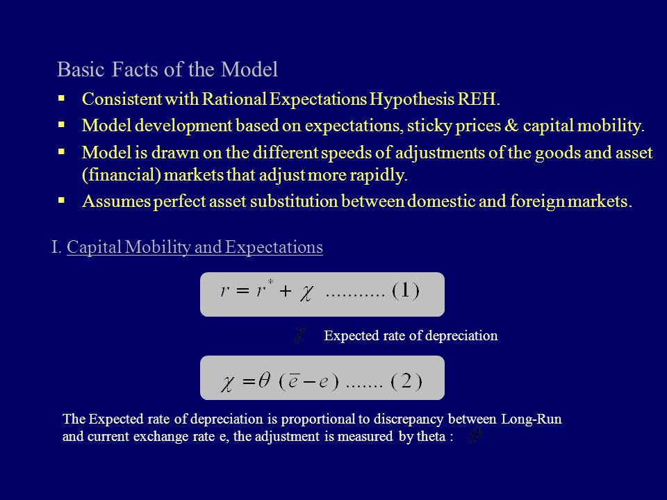 Basic Facts of the Model  Consistent with Rational Expectations Hypothesis REH.