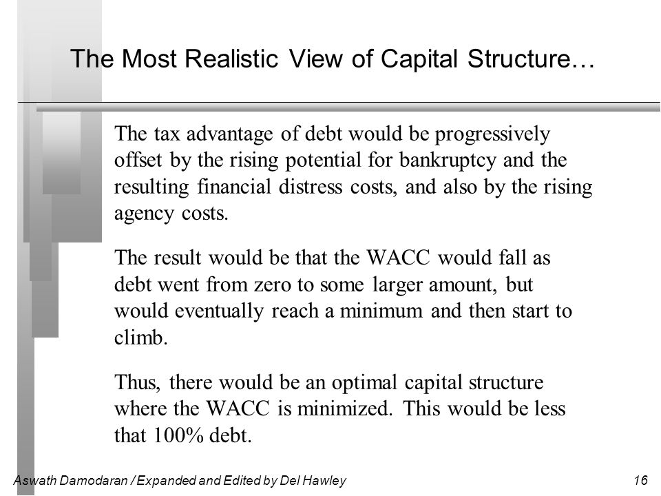 Aswath Damodaran / Expanded and Edited by Del Hawley16 The Most Realistic View of Capital Structure… The tax advantage of debt would be progressively