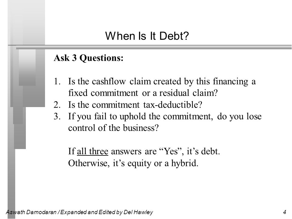 Aswath Damodaran / Expanded and Edited by Del Hawley5 Cost of Debt Debt is always the least costly form of financing.