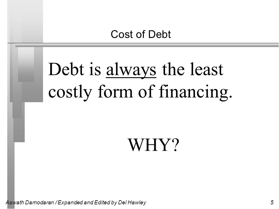 Aswath Damodaran / Expanded and Edited by Del Hawley5 Cost of Debt Debt is always the least costly form of financing. WHY?