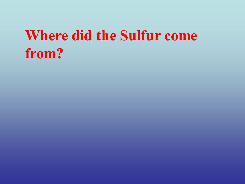 Where did the Sulfur come from?