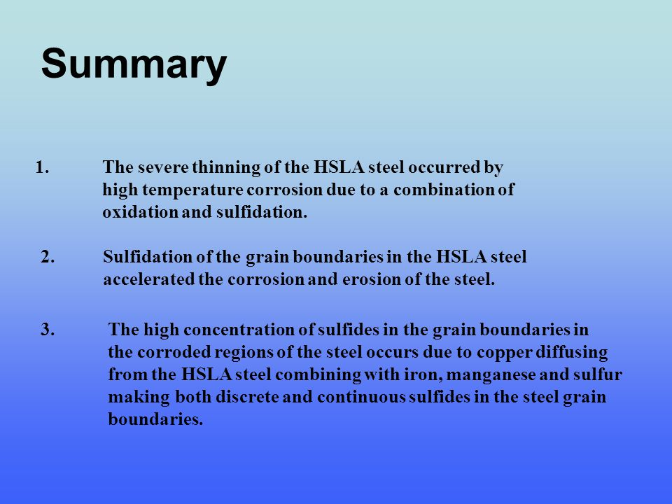 Summary 1.The severe thinning of the HSLA steel occurred by high temperature corrosion due to a combination of oxidation and sulfidation. 2. Sulfidati