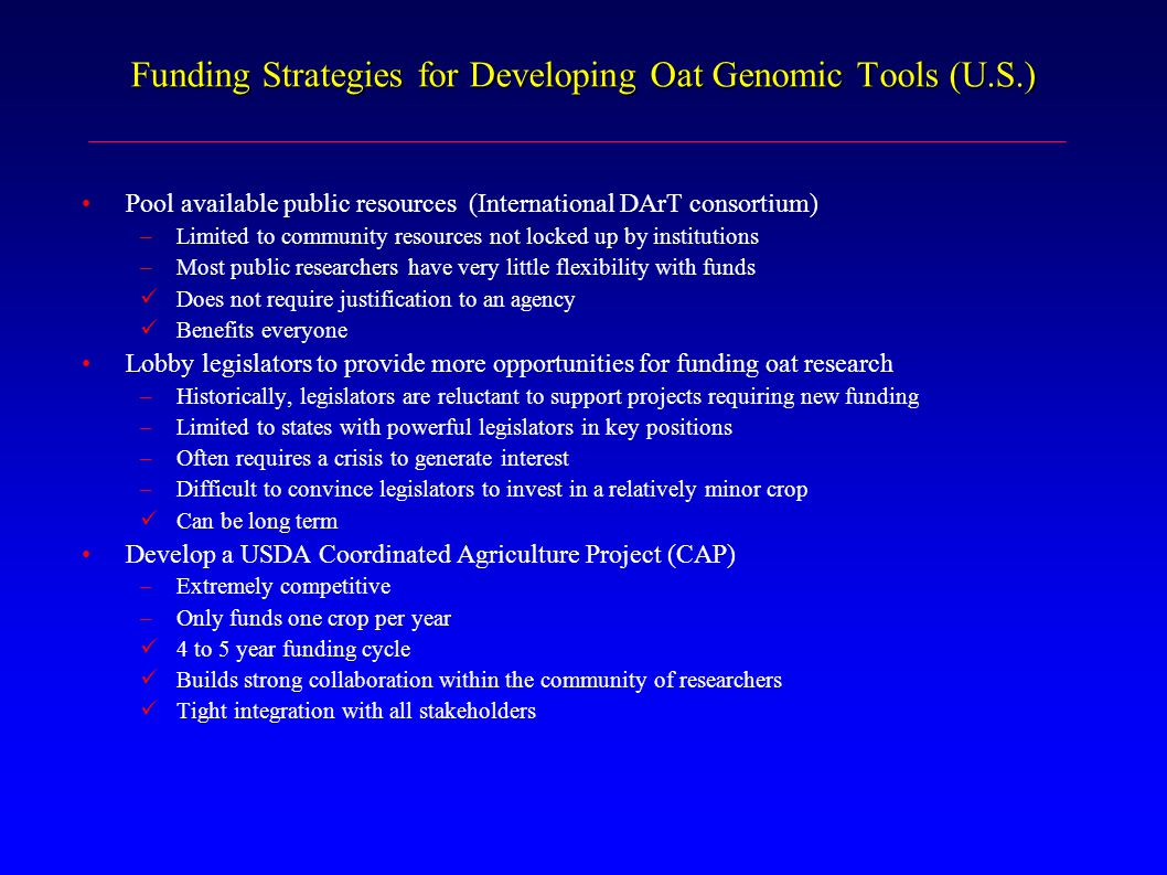 Funding Strategies for Developing Oat Genomic Tools (U.S.) Pool available public resources (International DArT consortium) –Limited to community resou