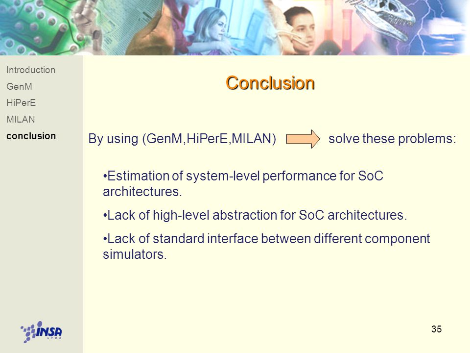 35 Introduction GenM HiPerE MILAN conclusion Conclusion By using (GenM,HiPerE,MILAN) solve these problems: Estimation of system-level performance for SoC architectures.
