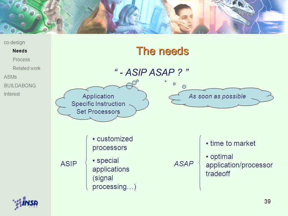 39 The needs - ASIP ASAP .