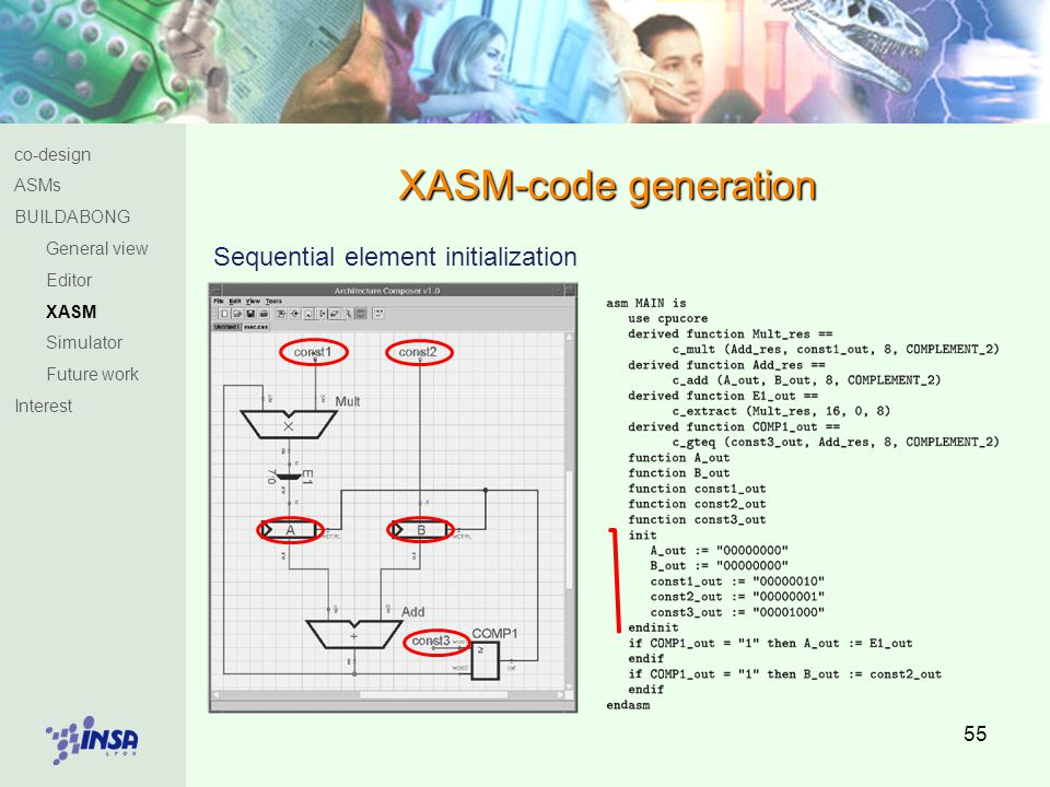 55 XASM-code generation Sequential element initialization co-design ASMs BUILDABONG General view Editor XASM Simulator Future work Interest