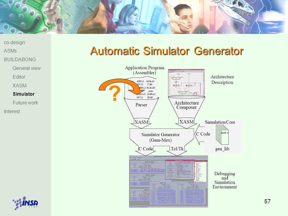 57 Automatic Simulator Generator co-design ASMs BUILDABONG General view Editor XASM Simulator Future work Interest ?
