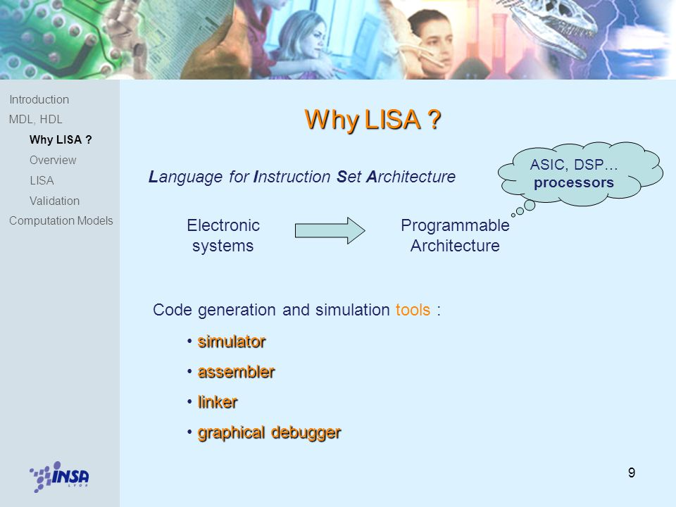 9 Introduction MDL, HDL Why LISA . Overview LISA Validation Computation Models Why LISA .