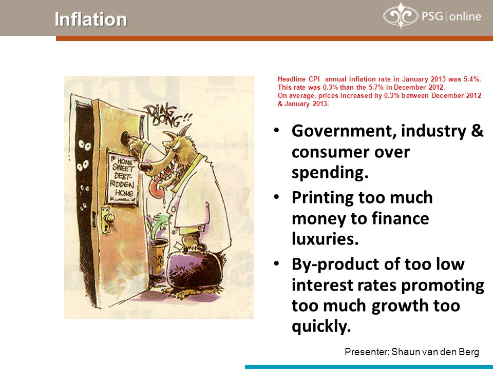 Inflation Government, industry & consumer over spending. Printing too much money to finance luxuries. By-product of too low interest rates promoting t