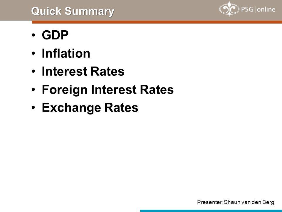 GDP Inflation Interest Rates Foreign Interest Rates Exchange Rates Quick Summary Presenter: Shaun van den Berg