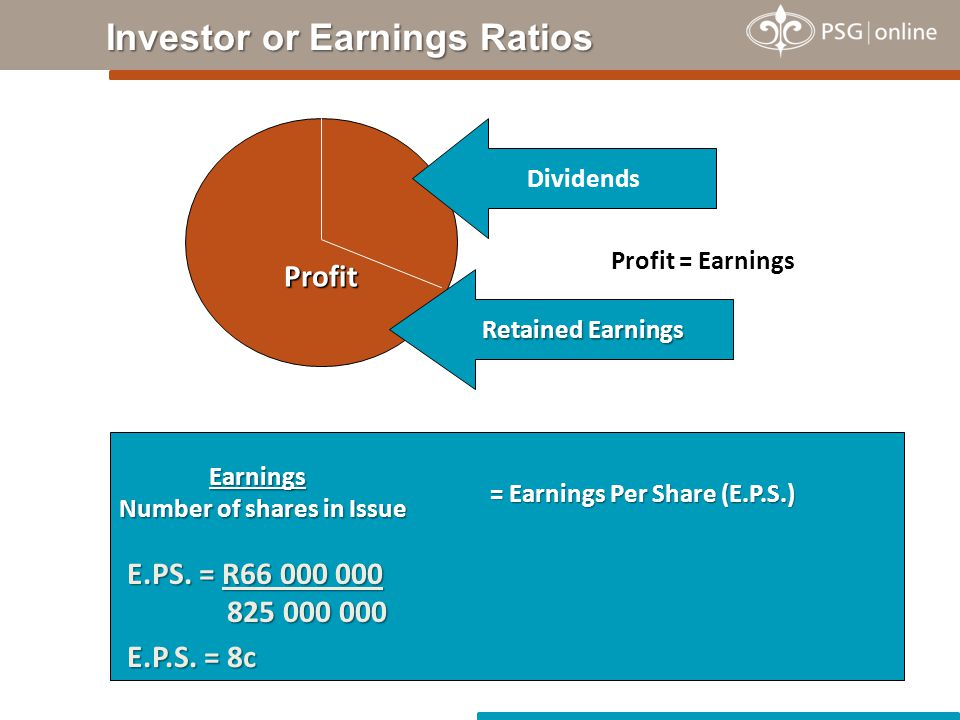 Earnings Number of shares in Issue Profit Profit = Earnings Dividends Retained Earnings = Earnings Per Share (E.P.S.) E.PS. = R66 000 000 825 000 000