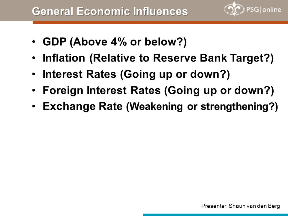 GDP (Above 4% or below?) Inflation (Relative to Reserve Bank Target?) Interest Rates (Going up or down?) Foreign Interest Rates (Going up or down?) Exchange Rate (Weakening or strengthening?) General Economic Influences Presenter: Shaun van den Berg
