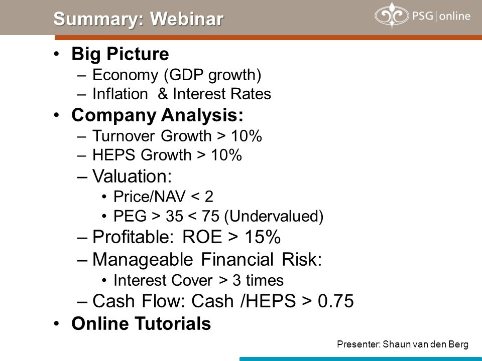 Big Picture –Economy (GDP growth) –Inflation & Interest Rates Company Analysis: –Turnover Growth > 10% –HEPS Growth > 10% –Valuation: Price/NAV < 2 PE