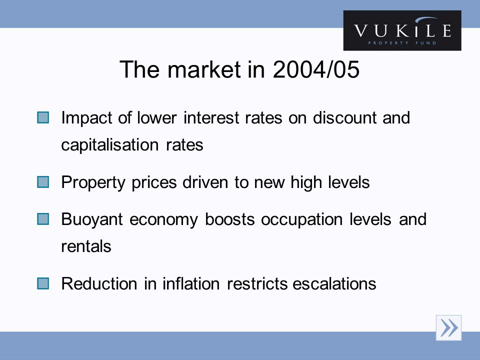 The market in 2004/05 Impact of lower interest rates on discount and capitalisation rates Property prices driven to new high levels Buoyant economy bo