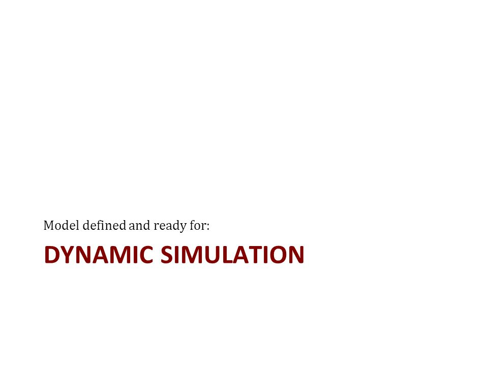 DYNAMIC SIMULATION Model defined and ready for: