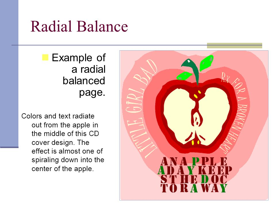 Radial Balance Example of a radial balanced page.
