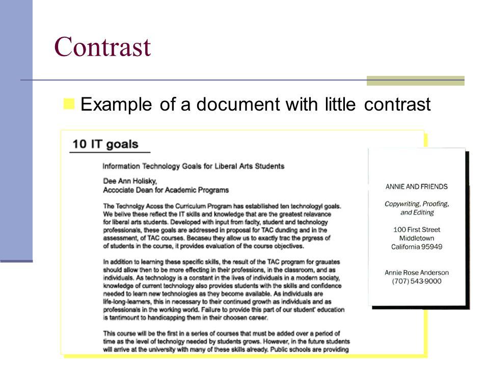 Contrast Example of a document with little contrast