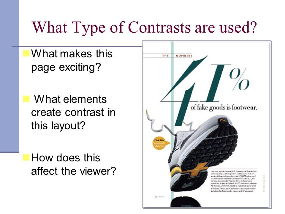 What makes this page exciting. What elements create contrast in this layout.